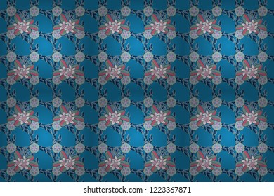 Seamless pattern of abstrat plumeria flowers in pink, blue and beige colors. Vintage style. Stock raster illustration.