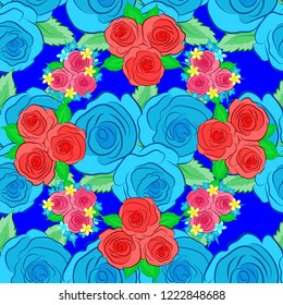 Seamless pattern of abstrat rose flowers and green leaves in blue, pink and green colors. Vintage style. Stock illustration.