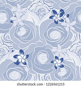 Seamless pattern of abstrat rose flowers and green leaves in gray, white and blue colors. Vintage style. Stock illustration.