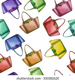 Seamless Pattern - All Over background - Watercolor fashion designer bag