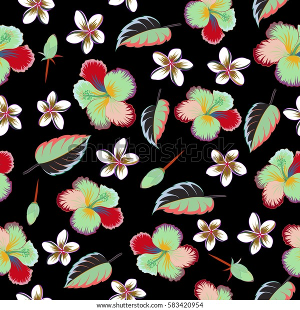 Seamless pattern. Aloha Hawaii, Luau Party invitation on black background with hibiscus flowers in green and red colors. Best creative design for poster, flyer, presentation. Aloha T-Shirt design.