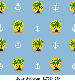 Seamless pattern with anchor and coconut palm tree island. Tropical wallpaper background.  Illustration