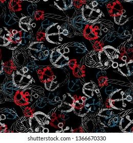Seamless pattern with anchors and ropes. Marine grunge background with watercolor effect. Textile print for bed linen, jacket, package design, fabric and fashion concepts