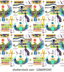 Seamless pattern of ancient Egyptian symbols and decoration. Cat, falcon, scarab beetle with wings, eye, Ankh, other signs. Decorative ornament of Egypt. Watercolor