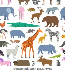 Seamless pattern with Animal, Zoo. isolated on white background