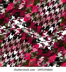 Seamless pattern argyle design. Houndstooth background with traditional rhombuses and watercolor effect. Textile print for bed linen, jacket, package design, fabric and fashion concepts.