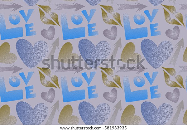 Seamless pattern with arrow, hearts, kiss, lips, love text in dots. Raster pattern in blue and gray colors. Romantic Valentine's day theme.