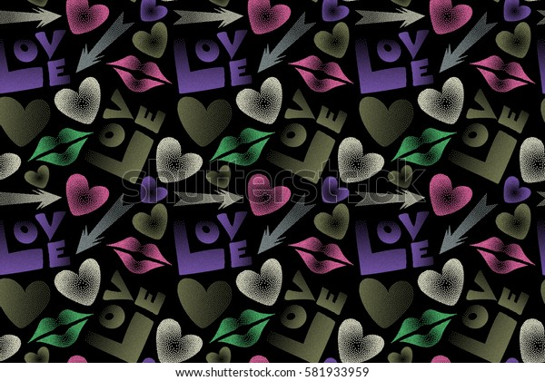 Seamless pattern with arrow, hearts, kiss, lips, love text in dots. Raster pattern in green, violet and pink colors on a black background. Valentine's day theme.