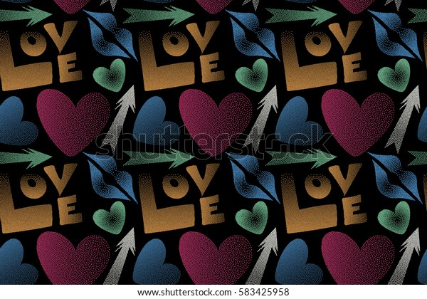 Seamless pattern with arrow, hearts, kiss, lips, love text in dots. Raster pattern in pink and orange colors on a black background. Valentine's day theme.