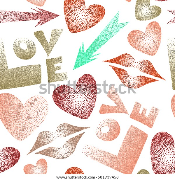 Seamless pattern with arrow, hearts, kissing lips, love text in dots. Valentine's day symbols in orange and red colors on a white background.