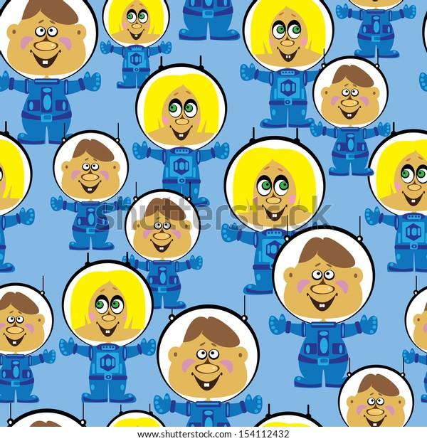 seamless pattern astronauts boys and girls