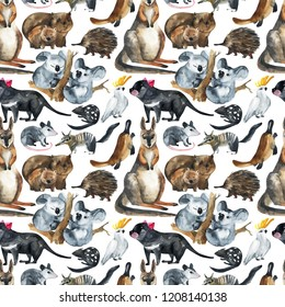 Seamless pattern of Australian animals. Hand-drawn watercolor on a white background. Kangaroo, koala, cassowary,  wombat, echidna
