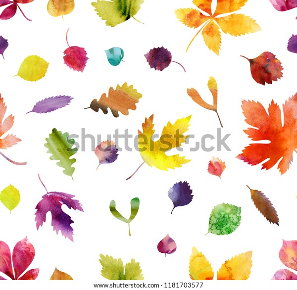 Seamless pattern autumn leaves watercolor
