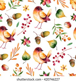 Seamless pattern with autumn leaves,flowers,branches,berries,acorns,chestnut and little bird.Colorful illustration.Watercolor handpainted texture on white background.Perfect for wallpaper,blogs,cover
