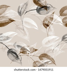Seamless pattern of autumn tree branches.Watercolor illustration on white and color background.