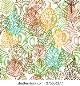 Seamless pattern of autumnal leaves in square format for wallpaper, background or fabric design