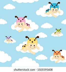 Seamless pattern with baby bugs sitting on clouds over blue sky background. Toddler ladybug tiling or wrapping paper pattern