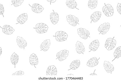 seamless pattern, background from black and white monstera leaves on a white background for design, print, textile, raster copy