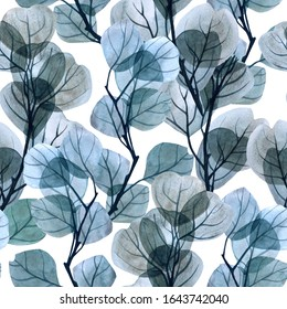 seamless pattern Background foliage on white. Translucent leaves. Watercolor glass branches and leaves. Green spring seamless print pattern. Stock illustration.