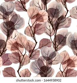seamless pattern Background foliage on white. Translucent leaves. Watercolor glass branches and leaves.  Brown spring seamless print pattern. Stock illustration.