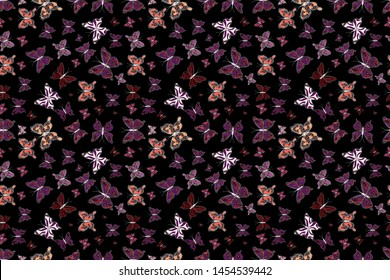 Seamless pattern background with insect. Different beautiful butterflies flying for coloring book. Abstract seamless pattern for clothes, boys, girls, wallpaper. Raster illustration.