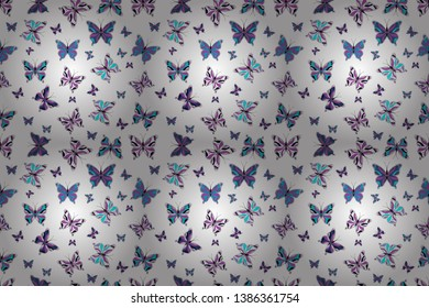 Seamless pattern background with insect. Raster illustration. Abstract seamless pattern for clothes, boys, girls, wallpaper. Different beautiful butterflies flying for coloring book.
