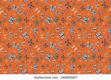 Seamless pattern background with insect. Raster illustration. Different beautiful butterflies flying for coloring book. Abstract seamless pattern for clothes, boys, girls, wallpaper.