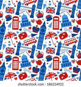 Seamless pattern background with London landmarks and Britain symbols  illustration