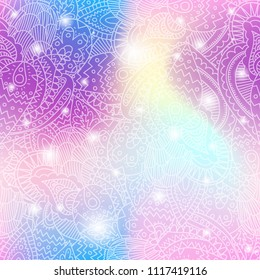 Seamless pattern background with paisley lace and shining sparcles on soft pastel unicorn magic color palette gradient. Fairy style