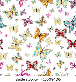 Seamless pattern background. Pictures in yellow, black and white colors. Perfect for surface textures, wallpapers, web page backgrounds, textile. Colorful cute butterfly.