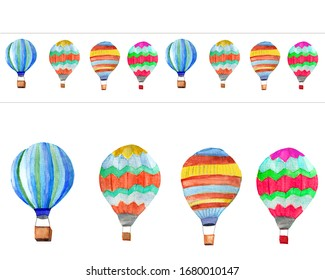 Seamless pattern balloon border on white background. Colorful background for fabric, wallpapers, gift wrapping paper, scrapbooking. Design for kids.