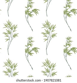 Seamless pattern with bamboo branches on white backround
