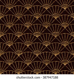 Seamless pattern based on japanese sashiko motifs. Golden color. Sashiko with fans. Abstract geometric backdrop. Sashiko motif - fans (Uchiwa). For decoration or printing on fabric.