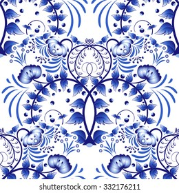 Seamless pattern based on porcelain painting gzhel style. Ornament in the national style. Blue flower painting on a white background. Rasterized version.