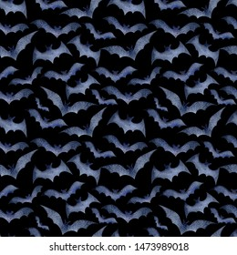 Seamless pattern of bats for Halloween on a black background, watercolor. Decoration for the autumn holiday. Mystical, fabulous, fun style. Bright background for packaging, textiles, Wallpaper