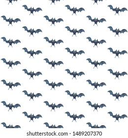 Seamless pattern with bats on white background - Halloween watercolor illustration