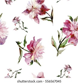 Seamless pattern with beautiful open pink peonies and buds on white background. Watercolor painting. Hand drown. Can be used in greeting cards, wallpapers, fabric, wrapping paper.
