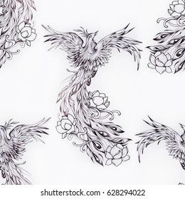 Seamless pattern of a beautiful phoenix bird on white background.
