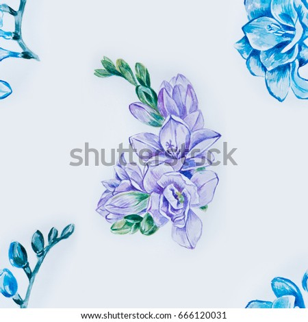 58ab91648 Seamless pattern of beautiful purple and blue freesia on a white background.