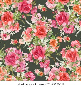 Seamless pattern of beautiful red roses-4