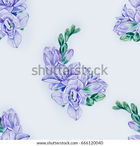 a23710a2f Seamless pattern of beautiful violet freesia on a white background.