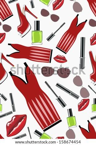 Seamless Pattern Beauty Fashion Symbols Stock Illustration 158674454