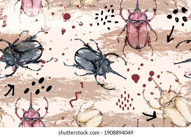Seamless pattern of beetle painted with watercolor on pastel background.Insect hand drawn, realistic bug.Designed for fabric luxurious and wallpaper, vintage style.