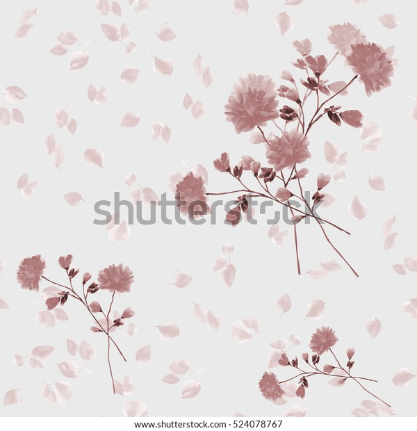 Seamless pattern of beige flowers and branches on a light gray background. Watercolor