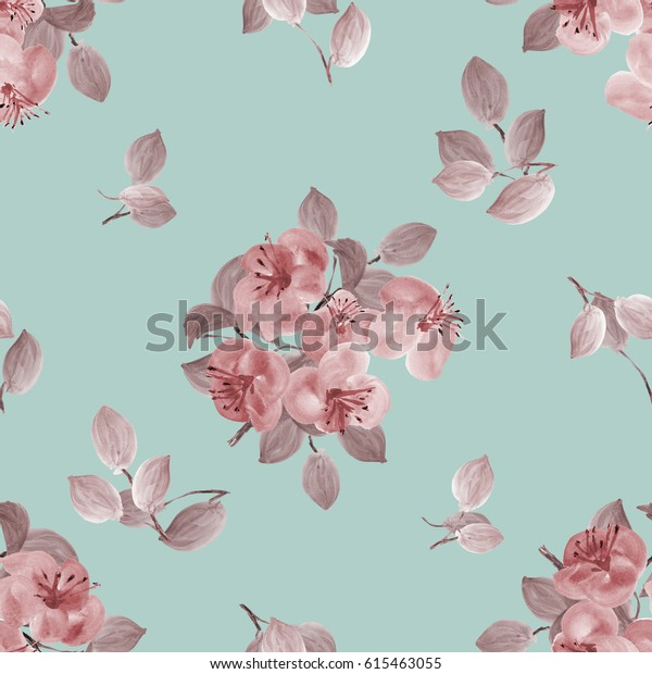 Seamless pattern of beige flowers and branches on a turquoise background. Watercolor