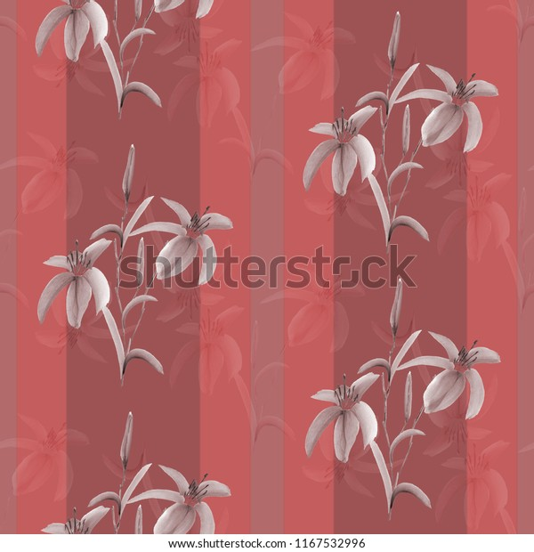 Seamless pattern beige flowers of lily on a deep red background with vertical stripes. Watercolor