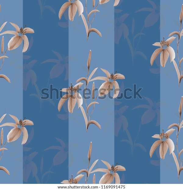 Seamless pattern beige flowers on a blue background with blue vertical stripes. Watercolor -1