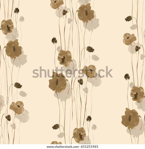 Seamless pattern of beige flowers on a beige background. Watercolor
