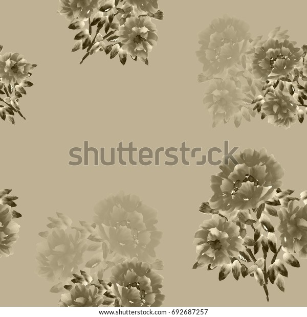 Seamless pattern of beige flowers on a deep beige background. Watercolor