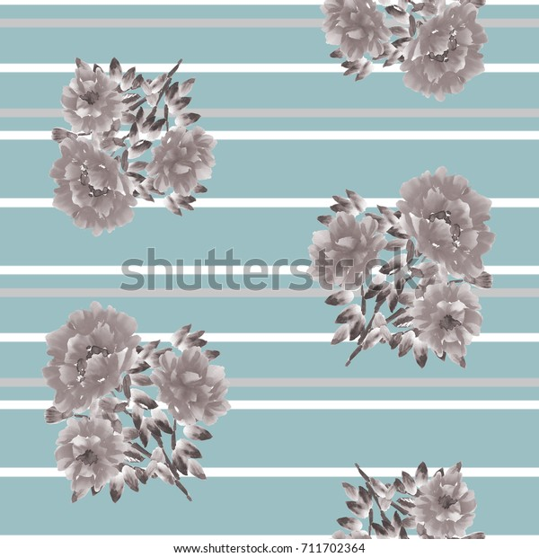 Seamless pattern of beige flowers on a turquoise background with gray and white horizontal stripes. Watercolor